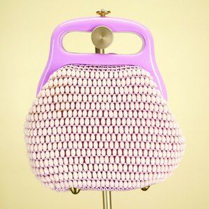 Vintage Italy Purple Beaded Top Handle Footed Bag